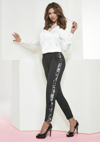 Spodnie damskie ZOYA eleganckie z ozdobnymi lampasami