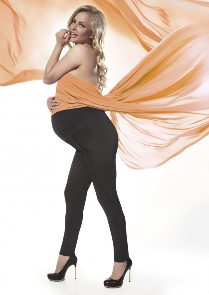 Legginsy ciążowe STEFANIE z wysokim stanem i przeszyciami