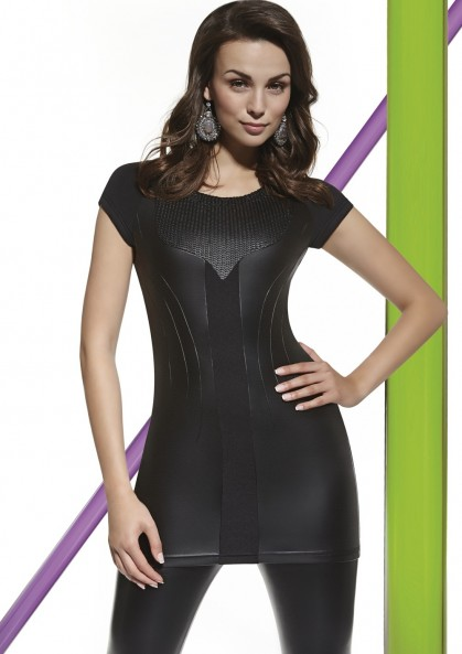 Leather tunic ANASTASIA made of combined materials