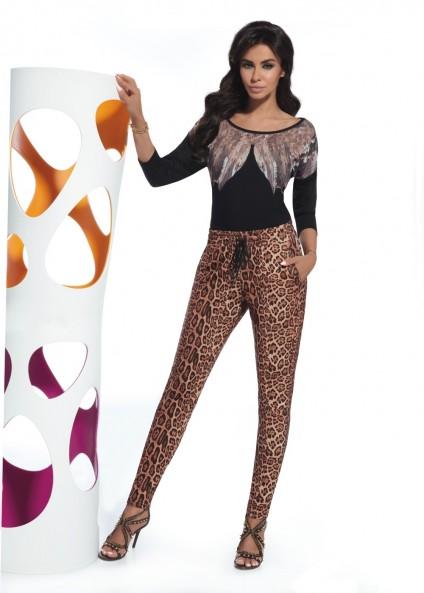 Women's pants ALISHA with fashionable spots and a binding...